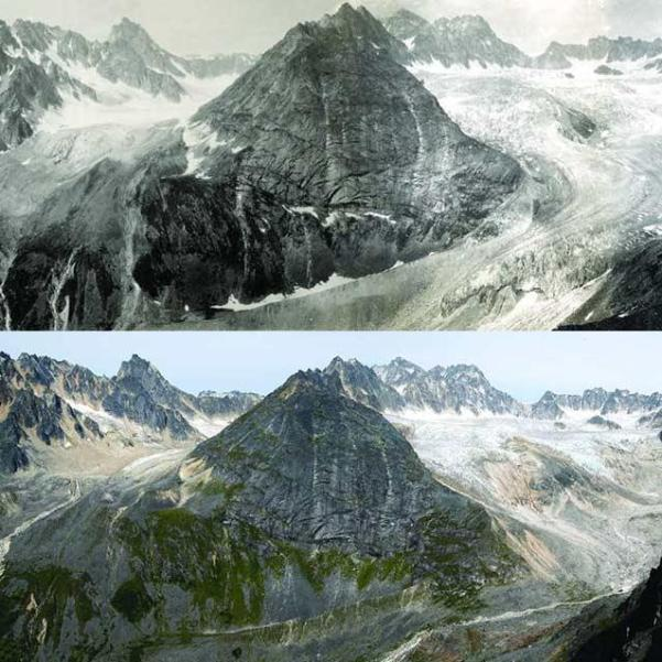 composite of a historic and modern image showing massive shrinkage of a glacier