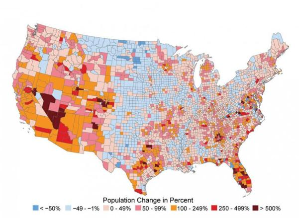 Map showing population change in the US, from <-50% to >500%.