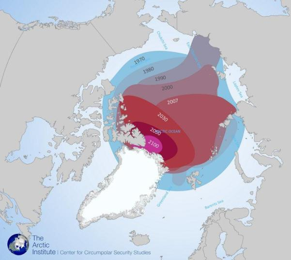 ​Arctic summer sea ice extent, based on historical satellite records and climate modeling through 2100.​